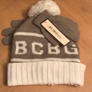 NWT BCBG Girls Grey & White Hat & Glove Set